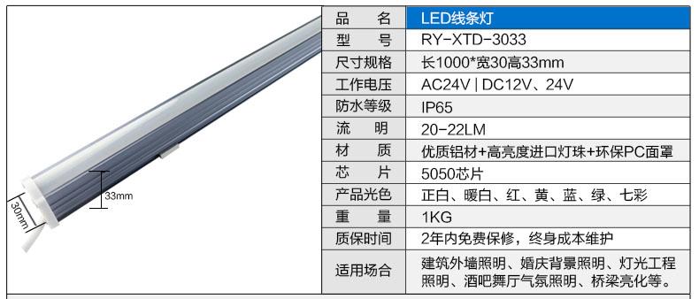 3033新款LED线条灯参数