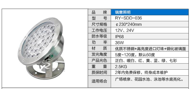 36W水底灯参数