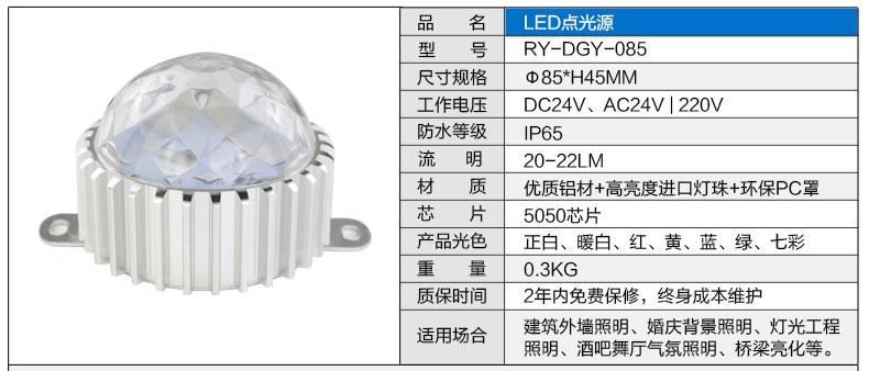 Φ85圆形LED点光源参数图