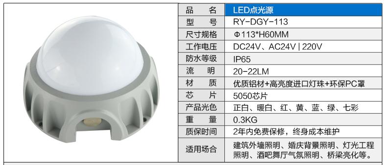 Φ113圆形LED点光源参数图