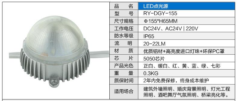 Φ155圆形LED点光源参数图