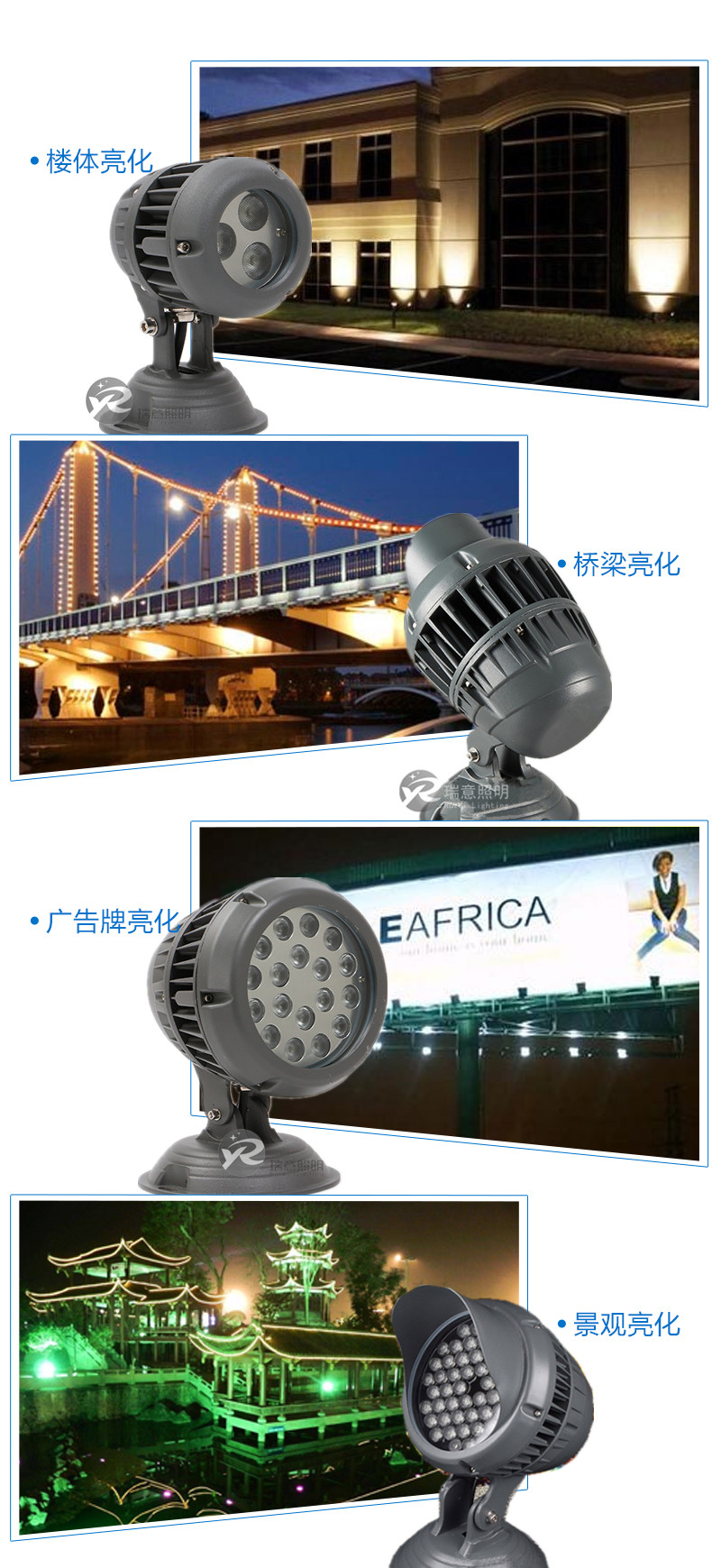 3W6W18W54W大功率七彩LED投光灯应用图