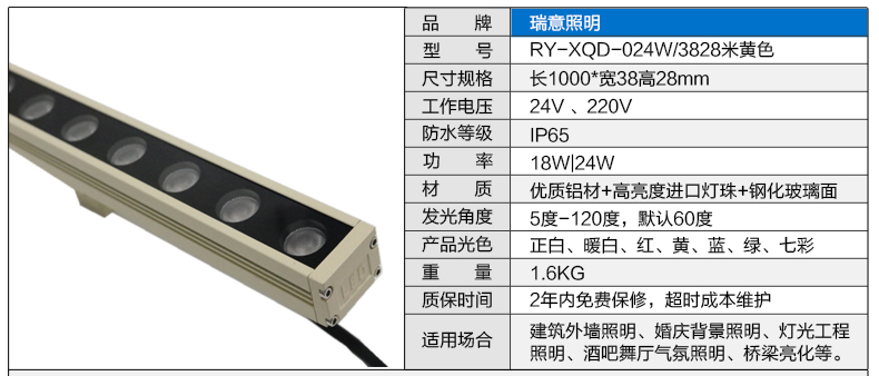 18-24W米黄色LED洗墙灯38*28参数图