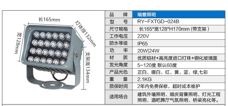 24W方形LED投光灯参数