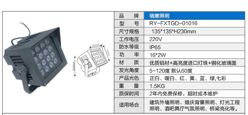 16W正方形LED投光灯参数图