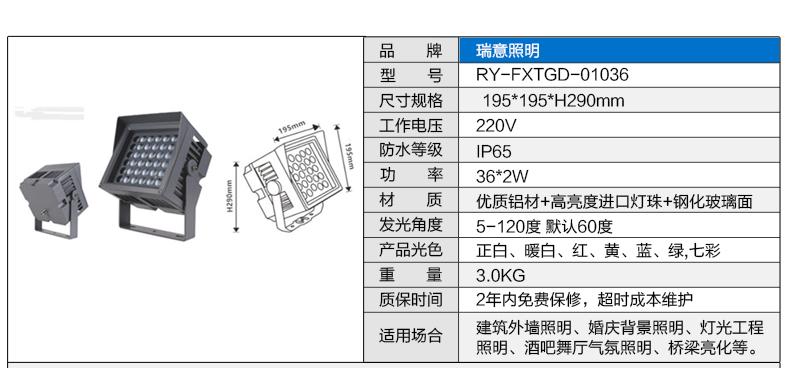 36W正方形LED投光灯参数图