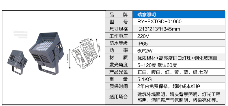 60W正方形LED投光灯参数图