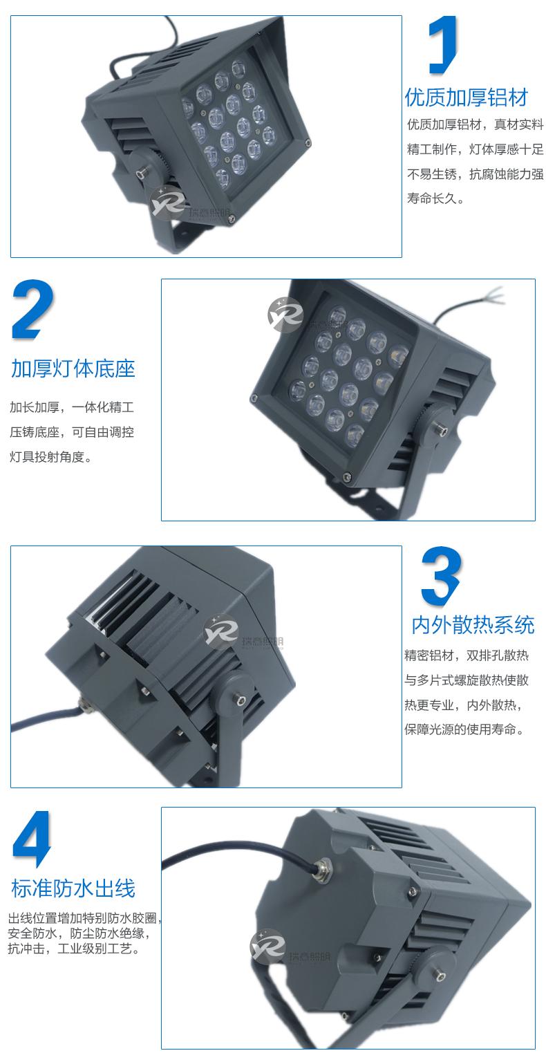 16W正方形LED投光灯实拍图