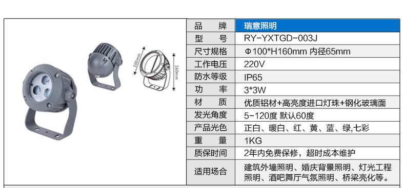 3W-100W圆形LED投光灯参数图