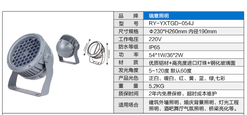 3W-100W圆形LED投光灯参数图4