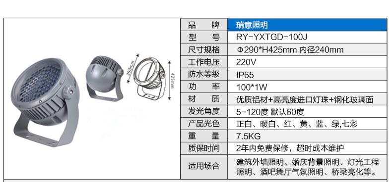 3W-100W圆形LED投光灯参数图5