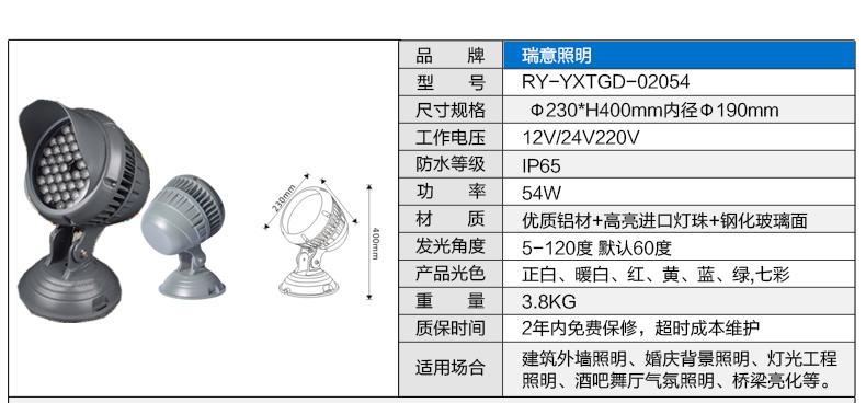 3W6W18W54W大功率七彩LED投光灯参数图