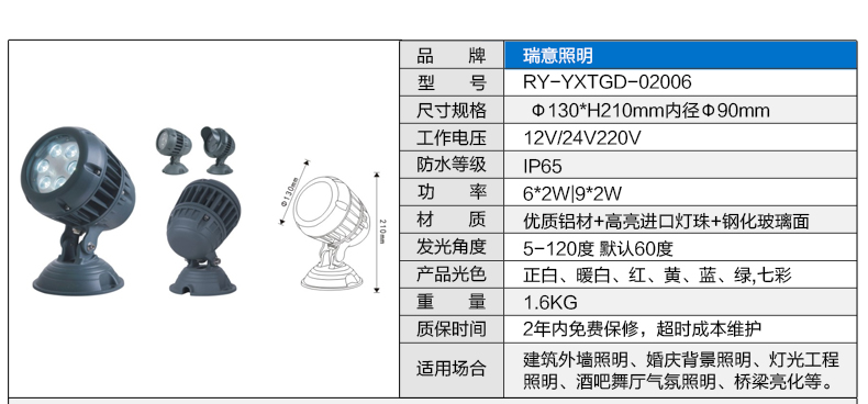 3W6W18W54W带档板大功率LED投光灯参数图