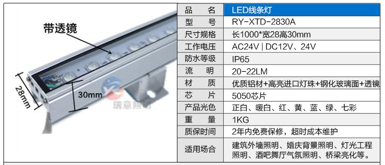 28*30带透镜LED线条灯参数图