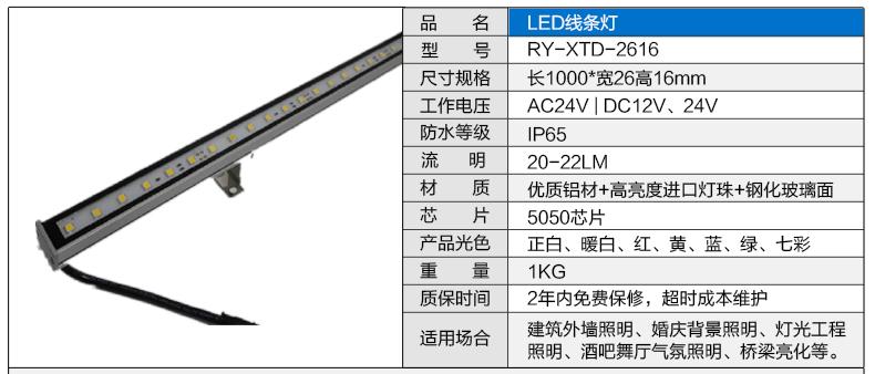 26*16贴片LED线条灯参数图