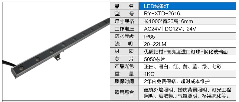 26*16私模铝材LED线条灯参数图