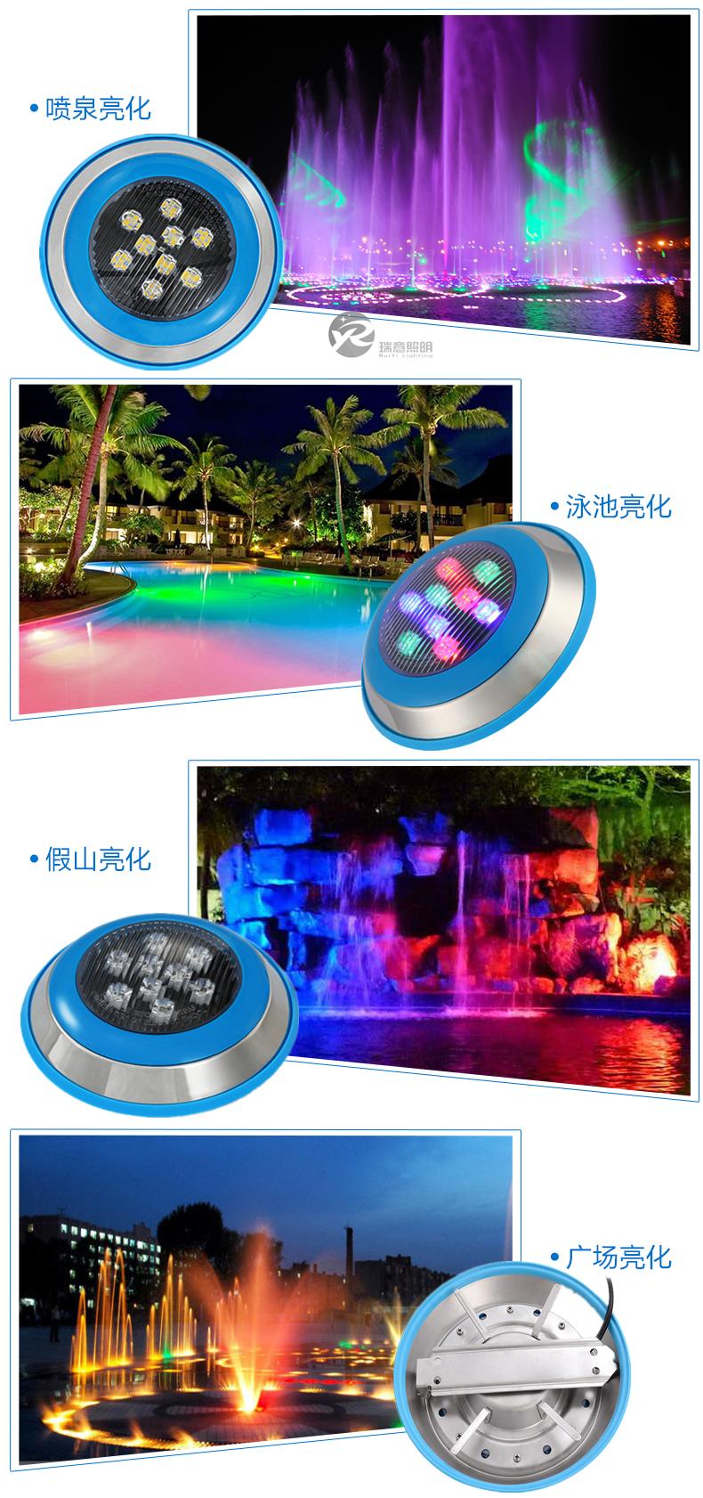 6W-24WLED泳池挂壁灯应用图